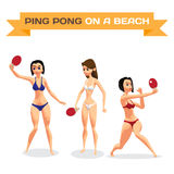 Set of young women in bikini with racket for table tennis. A gir. Ls in a swimsuit on the beach plays ping-pong. Flat isolated vector illustration Royalty Free Stock Images