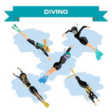 Set of young women in diving suit snorkeling. Girls swim under the water. Vector flat cartoon illustration on a isolated background Stock Photography
