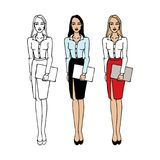 Set of young women in elegant office clothes. People character. Standing woman body template for design, presentations work. stock illustration