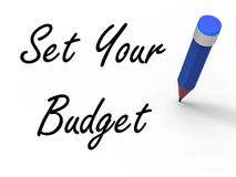 Set Your Budget with Pencil Means Writing Stock Photo