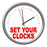 Set your clocks. An image of a clock with the text set your clocks vector illustration