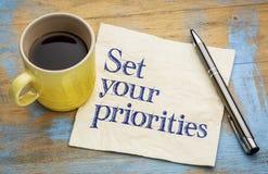 Set your priorities reminder - napkin Stock Photo