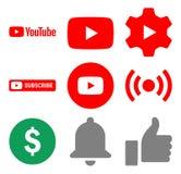 Set YouTube icons vector stock illustration