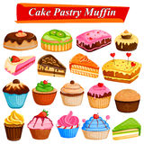 Set of yummy assorted Cakes and Pastry Food dessert Stock Photography