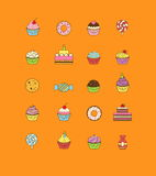 A set of yummy flat outlined icon vector illustrations of various kinds of sweets and desserts. It includes donuts Stock Photography