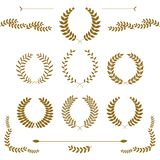 Set złocistej nagrody laurowi wianki i gałąź na białym tle, wektorowa ilustracja royalty ilustracja