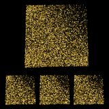 Set złociści confetti prześcieradła nutowi papiery cztery uwagi kleistej V Obraz Stock