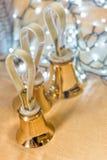 Set złociści handbells na stole podczas koncerta Obraz Royalty Free