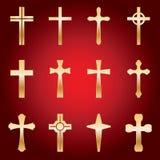 Set Złociści krzyże Zdjęcia Stock