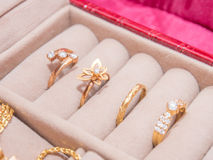Set Złociści pierścionki Zdjęcie Stock