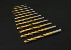 Set złoci świderów kawałki Zdjęcie Royalty Free