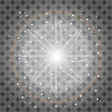 Set złoci rozjarzeni światło skutki odizolowywający na przejrzystym tle Słońce błysk z promieniami i światłem reflektorów Jarzeni Zdjęcie Stock
