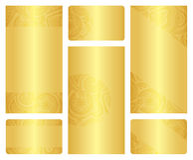 Set złoci ulotki i wizytówki szablony Obrazy Royalty Free