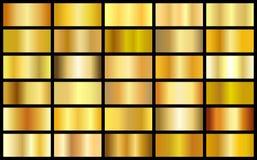 Set złocistej realistycznej metal tekstury gradientu kwadrata wektoru bezszwowi tła ilustracja wektor