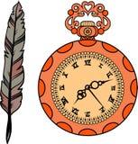 Set złocisty zegarek i piórko ilustracji