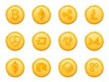 Set 12 złocistych monet waluty crypto ikona Odgórna cyfrowa elektroniczna waluta kapitalizacją rynku Fotografia Stock