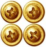 Set złote śrubowe gwóźdź głowy Zdjęcia Royalty Free