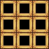 set złote drewniane ramy odizolowywać na czerni Zdjęcie Stock