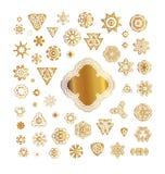 Set złote round ramy Zdjęcia Royalty Free