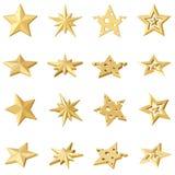 Set 4 złotej gwiazdy Różni kąty Zdjęcia Royalty Free
