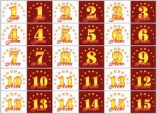 Set złoto liczby od 1 15 i słowo rok Obrazy Stock