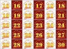 Set złoto liczby od 16 30 i słowo rok Obrazy Stock
