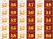 Set złoto liczby od 46 60 i słowo rok dekorował z okręgiem gwiazdy również zwrócić corel ilustracji wektora Obraz Royalty Free
