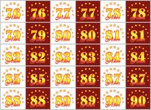 Set złoto liczby od 76 90 i słowo rok dekorował z okręgiem gwiazdy również zwrócić corel ilustracji wektora Tłumaczący od Obraz Royalty Free