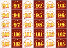 Set złoto liczby od 91 105 i słowo rok dekorował z okręgiem gwiazdy również zwrócić corel ilustracji wektora Tłumaczący od Obraz Royalty Free