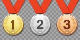 Set złoto, srebro i brąz, bawi się medale obraz stock