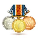 Set złoto, srebro i brązowi medale z faborkiem Zdjęcia Stock