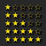 Set złoty gwiazd oszacowywać Fotografia Stock
