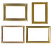 Set złoty ramowy rocznik odizolowywający na białym tle Zdjęcie Stock