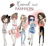 Set z ślicznymi kreskówek dziewczynami ilustracja wektor