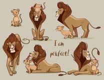 Set z ślicznymi lwami ilustracja wektor