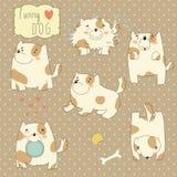 Set z śmiesznym kreskówka psem Zdjęcia Royalty Free