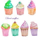 Set z akwareli muffins Zdjęcia Royalty Free