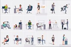 Set z biznesmenami i bizneswomanami Młodzi człowiecy i kobiety przy miejscymi pracami Ludzie biznesu robi ich pracie officemates ilustracji