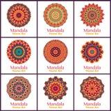 Set z ciepłymi kolorów mandalas Fotografia Royalty Free