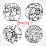 Set z cztery nakreśleń śniadaniem royalty ilustracja