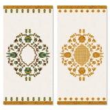 Set z dwa kartami z kwiecistym złocistym arabeskowym ornamentem projekt dla druku, pokrywy, zaproszenia ilustracja wektor
