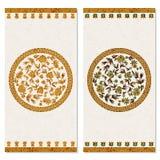 Set z dwa kartami z kwiecistym złocistym arabeskowym ornamentem projekt dla druku, pokrywy, zaproszenia ilustracji