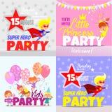 Set z dzieciaka zaproszenia projekta partyjnymi pojęciami Fotografia Royalty Free