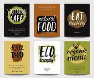 Set z eco życzliwym i żywność organiczna szablonami Zdjęcie Royalty Free
