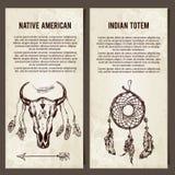 Set z etnicznych projektów elementów Horyzontalnymi sztandarami Obrazy Stock