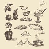 Set z fast food ilustracją Nakreślenie wektoru ilustracja Fas Obrazy Stock