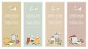 Set z Herbacianą ulotką Kolekcja pionowo sztandar dla sklepowego projekta Ręka rysująca wektorowa ilustracja ilustracja wektor