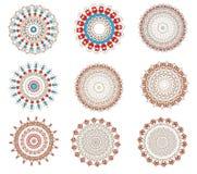 Set z koronkowymi kolorów mandalas Zdjęcia Royalty Free