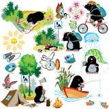 Set z kreskówki gramocząsteczką w campingu ilustracji
