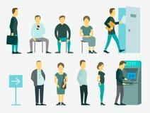 Set z ludźmi stać w kolejce ATM wektoru ilustrację Obrazy Royalty Free